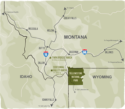 map of J Bar L vacation rentals in Montana